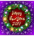 Christmas happy new year 2017 green wreath vector image vector image