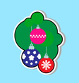 christmas tree balls icon over blue background vector image