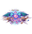 colorful outline of a heart with wings in a hand vector image vector image