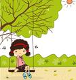 cute girls in garden vector image