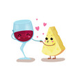 cute glass of wine and cheese characters are best vector image