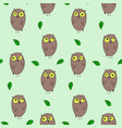 cute hand drawn pattern with owls and leaves vector image vector image