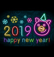 cute pig neon happy new year 2019 colorfull vector image vector image