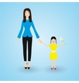 family mother and happy daughter with flower vector image vector image