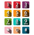 flat design phone dial numbers set vector image vector image