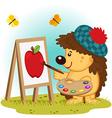 hedgehog artist vector image vector image