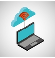 laptop cloud technology wifi vector image vector image