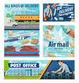 mail delivery service post office parcels vector image vector image