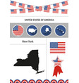 map new york set flat design icons vector image