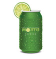 mojito juice can with many juice drops lime slice vector image vector image