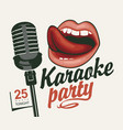 music banner for karaoke party with mic and mouth vector image