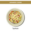 nutritious oriental tyahan on plate from japanese vector image vector image