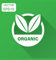 organic label badge icon in flat style eco bio vector image vector image