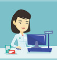 pharmacist at counter with cash box vector image vector image