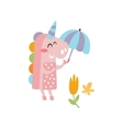 Pink Unicorn Holding Umbrella Smiling In Autumn vector image vector image