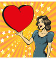 pop art happy woman in love vector image vector image
