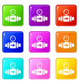 pressure sensor icons set 9 color collection vector image vector image