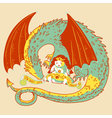 princess and dragon vector image vector image