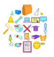 researcher icons set cartoon style vector image vector image