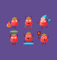 ripe tomato characters with funny faces set cute vector image vector image