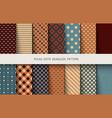 seamless vintage patterns polka dots set vector image