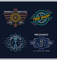 set car service and repair badge design vector image vector image