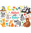 set isolated animals mother with bapart 2 vector image