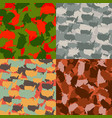 set usa shape camo seamless pattern colorful vector image