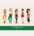 set with isolated rasta girls rastafarian vector image