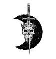 skull sword crown moon 0002 vector image