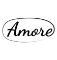 slogan word amore phrase graphic amore vector image