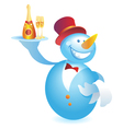 Snowman-waiter with champagne vector image vector image