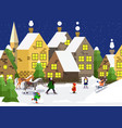 snowy city urban winter landscape with people in vector image