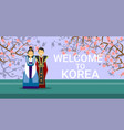 travel to south korea banner happy korean coupe vector image