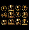 trophy retro golden laurel wreath colllection vector image vector image