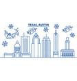 usa california austin winter city skyline merry vector image vector image