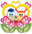 valentine day colorful poster with an owl couple vector image vector image