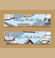 vintage book shop set banners vector image vector image