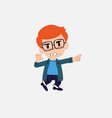 white boy with glasses points angrily to his left vector image vector image
