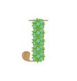 wooden leaves letter j vector image vector image