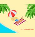 beach summer vacation woman relaxing sunbathing vector image