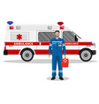 emergency doctor man and ambulance car vector image