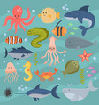 sea life underwater cartoon animals cute marine vector image