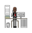african businessman talking on phone at office vector image