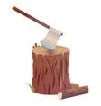 Axe on stump vector image