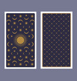 back tarot card decorated with stars sun vector image