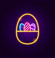 basket with eggs neon sign vector image vector image