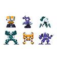 battle robots cartoon war machines and futuristic vector image