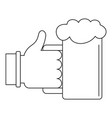 beer in hand icon outline style vector image