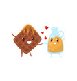 belgian waffles and caramel sauce are friends vector image vector image